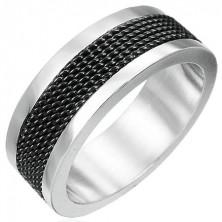 Ocelový prsten s černou síťovinou