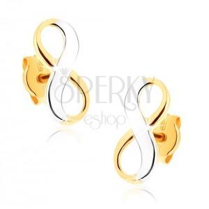Dvoubarevné zlaté náušnice 375 - lesklý symbol nekonečna, rhodiované