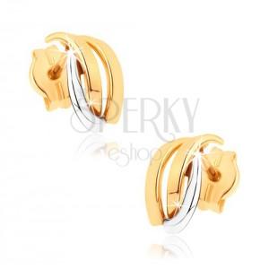 Blyštivé náušnice z 9K zlata - dvoubarevné zahnuté linie