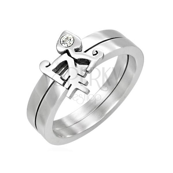 Zdvojený prsten se zirkonem - Luk se šípem