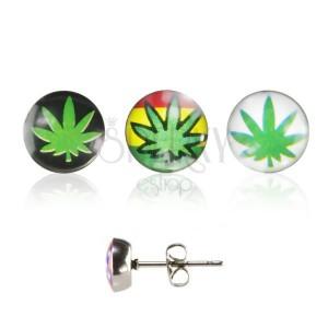 Ocelové náušnice, puzetka, čirá glazura, lístek marihuany s různým pozadím