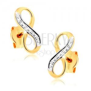 """Dvoubarevné náušnice v 9K zlatě - ozdobně gravírovaný symbol """"INFINITY"""""""
