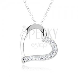 Stříbrný náhrdelník 925, kontura srdce, čiré zirkony na jedné polovině