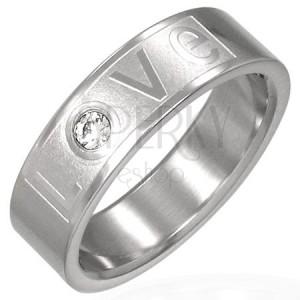 Prsten z oceli - LOVE se zirkonem