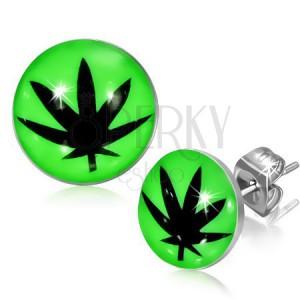 Puzetové náušnice z oceli, glazura, černý lístek marihuany, zelené pozadí