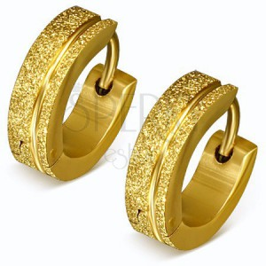 Třpytivé ocelové náušnice ve zlaté barvě, pískované kroužky, pásek
