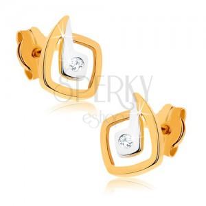 Zlaté rhodiované náušnice 375 - nepravidelné dvoubarevné čtverce, zirkon