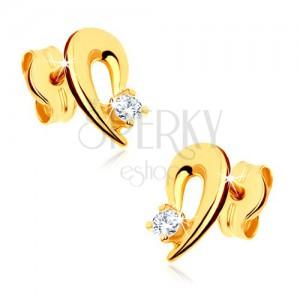 Náušnice ze žlutého 9K zlata - obrys kapky zdobený čirým kamínkem
