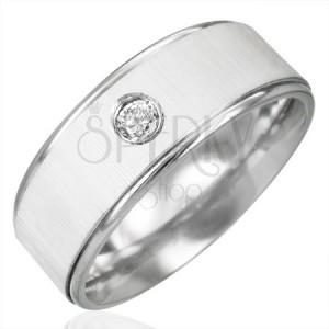 Prsten z chirurgické oceli se zirkonem - saténový lesk