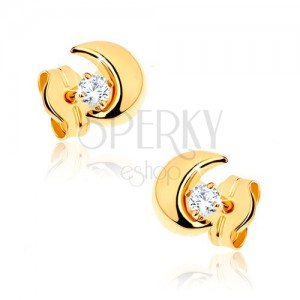 Náušnice ve žlutém 9K zlatě - malý půlměsíc s kamínkem čiré barvy