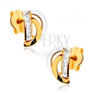 Zlaté náušnice 375 - dvoubarevné obloučky, svislá zirkonová linie