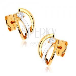 Dvoubarevné zlaté náušnice 375 - tři lesklé obloučky, kamínek čiré barvy