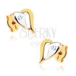 Náušnice v 9K zlatě - blyštivý dvoubarevný obrys srdíčka, čirý kamínek