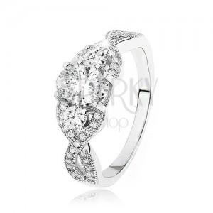 Zářivý stříbrný prsten 925, překřížená zvlněná ramena, oválný zirkon