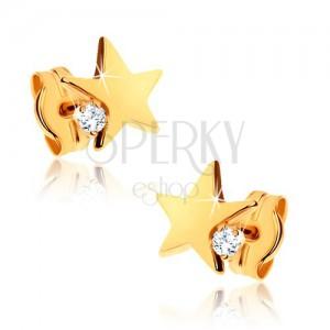 Náušnice ve žlutém 9K zlatě - lesklá pěticípá hvězda, čirý zirkonek