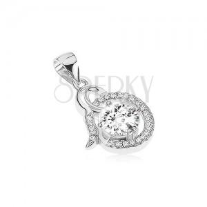 Stříbrný přívěsek 925 - lesklá spirála, čirý zirkonový ovál, kulatý kamínek