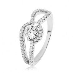 Stříbrný prsten 925, zdobená zaoblená ramena, kulatý čirý zirkon, vroubkování SP49.27