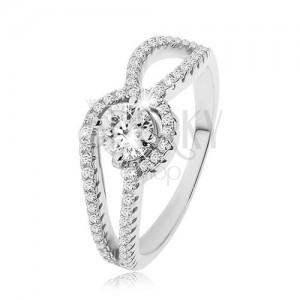 Stříbrný prsten 925, zdobená zaoblená ramena, kulatý čirý zirkon, vroubkování