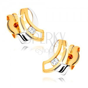 Dvoubarevné zlaté náušnice 375 - dvě protínající se zahnuté linie, čirý zirkon
