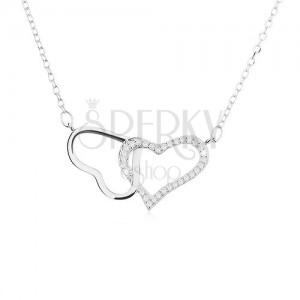 Stříbrný náhrdelník 925, dvě kontury - lesklého a zirkonového srdce