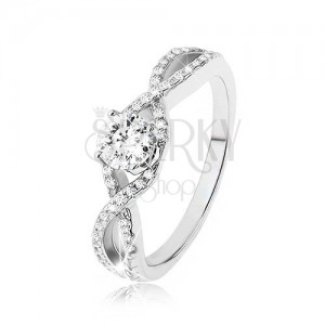 Zásnubní prsten ze stříbra 925, zirkonové vlny, vystupující kulatý zirkon