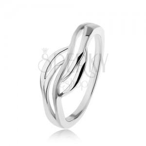 Stříbrný prsten 925, široký střed - hladké obrysy vln, vysoký lesk