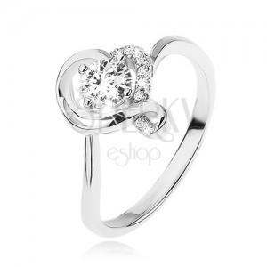Zásnubní prsten ze stříbra 925, kulatý čirý zirkon v obrysu zvlněného srdce