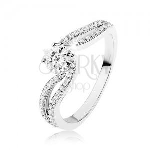 Stříbrný prsten 925, zářivý zirkon mezi dvěma liniemi kamínků