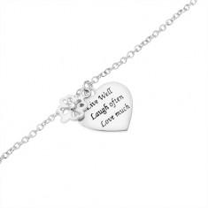 Stříbrný náramek 925, čtyřlístek se zirkonem, ploché srdce s nápisem SP51.26