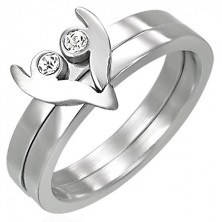 Ocelový prsten ze dvou částí - srdíčko se zirkony
