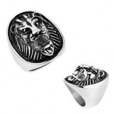 Masivní ocelový prsten stříbrné barvy, vypouklá hlava lva s patinou T22.17