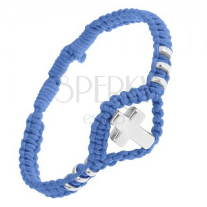 Modrý pletený náramek, lesklý ocelový kříž a kolečka, nastavitelný