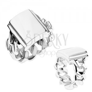 Prsten z oceli, stříbrná barva, ramena s očky, zrcadlově lesklý obdélník
