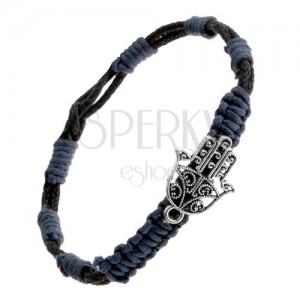 Pletený náramek - modro-černé motouzky, přívěsek vyřezávaná budhistická ruka