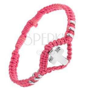Náramek z růžové tkaniny, ozdobná kolečka a kříž z oceli 304L
