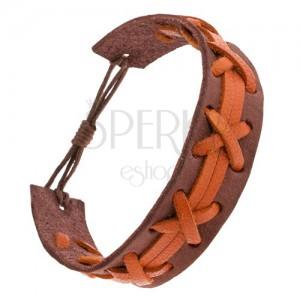 Hnědý náramek z kůže, oranžový výplet a pásky, nastavitelná délka