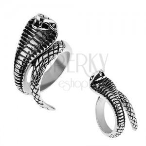 Ocelový prsten stříbrné barvy, vypouklá patinovaná kobra