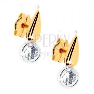 Dvoubarevné zlaté náušnice 375 - blyštivá kapka, čirý zirkon v objímce