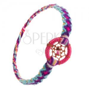 Pletený vzorovaný náramek, kulatý přívěsek, pavučinka z nití s korálkem