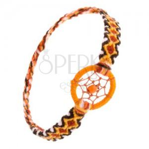 Oranžový náramek z vlny, kosočtvercový vzor, kroužek s kuličkou