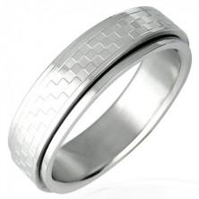 Ocelový prsten s otáčivým středem - šachovnice