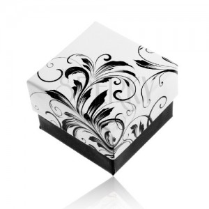 Dárková krabička na prsten, vzor popínavých listů, černobílá kombinace