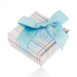 Krabička na prsten s károvaným vzorem, světle modrá mašlička