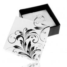 Černobílá dárková krabička na prsten, květinové ornamenty
