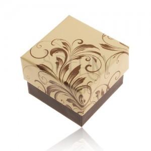 Dárková krabička na prsten - motiv popínavých listů, žluto-hnědá kombinace
