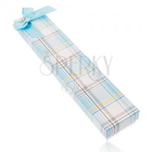Károvaná krabička na řetízek a hodinky, mašle z lesklé světle modré stuhy