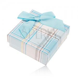 Dárková krabička na prsten a náušnice, károvaný motiv, světle modrá mašlička