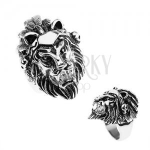 Prsten z oceli 316L, stříbrná barva, hlava lva, čelenka s pírky, lebky