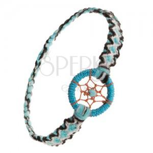 Modrý náramek na ruku, černobílé vzory, přívěsek - kroužek a kulička