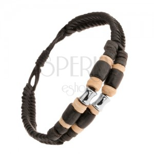 Kožený dvojitý náramek, béžové a černé kroužky, ocelový váleček, nastavitelný